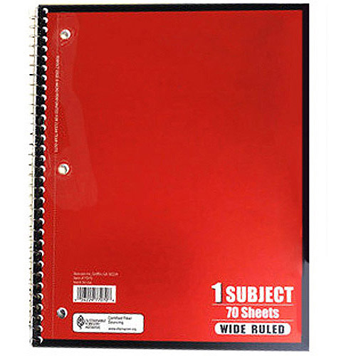 Spiral Notebook Wide Ruled 70 pages